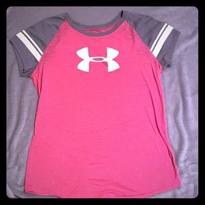 Pink and grey under armor shirt